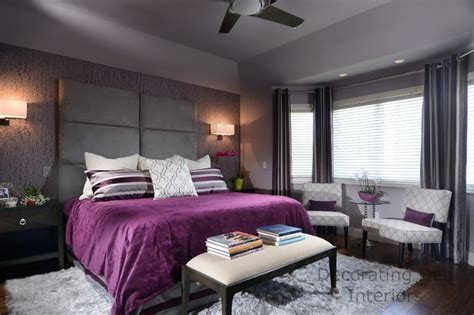 Purple And Gray Contemporary Master Bedroom Designs