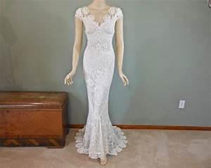 handmade crochet lace wedding dress ivory wedding dress With crochet lace wedding dress