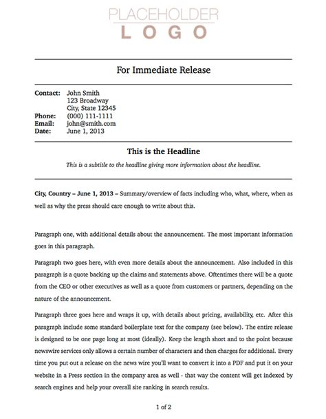 press release cover letter examples templates press release