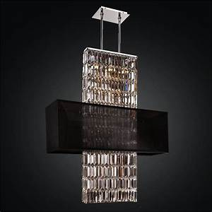 Rectangular shade chandelier crystal
