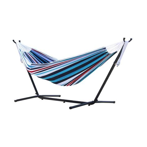 Vivere Hammocks by Vivere 9 Ft Cotton Hammock With Stand In Denim