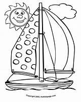 Coloring Sailboat Sheets Sheet Colouring Cartoon Sun Sunny Printable Smiling Preschool Summertime Grover Realistic Cliparts Popular Easter Coloringhome sketch template
