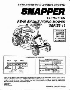 Snapper E250186b Lawn Mower User Manual