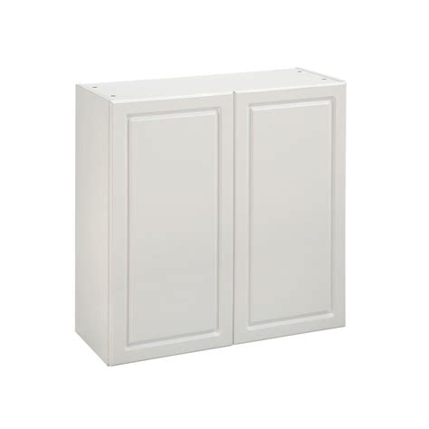 Pre Made Cabinet Doors Home Depot by White Kitchen Wall Mounted Cabinet With 2 Doors In White