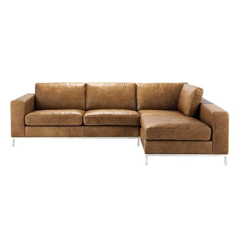 canapé cuir camel 4 seater leather vintage corner sofa in camel