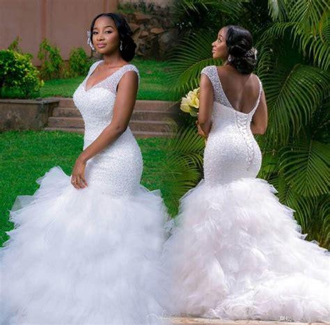 vestido de novia wedding dress vestido de novia white plus size mermaid wedding dresses 2016 crystals beaded v neck lace up