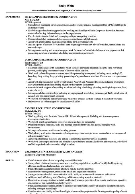 Recruiting Resume by Cus Recruiting Coordinator Resume Sles Velvet