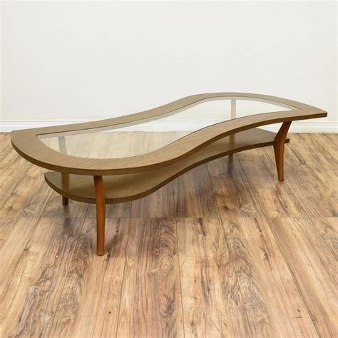 Mid century modern mosaic tile top kidney shaped coffee table, source: This mid century modern coffee table is featured in a solid wood with a light oak finish ...
