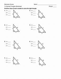 Solving Right Triangles Worksheets Answers