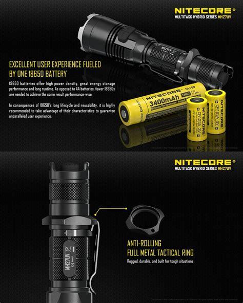 le tactique nitecore mh27uv 1000lumens le torche de chasse longue port 233 e rechargeable