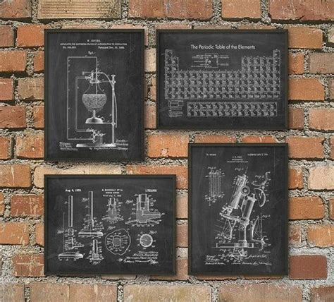 science patent prints set   chemistry wall art