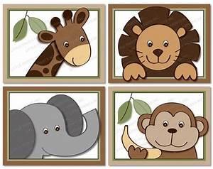 Cute jungle animal nursery wall art safari
