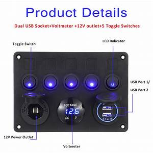 New 12  24v 5 Gang Blue Led Rocker Switch Panel Dual Usb