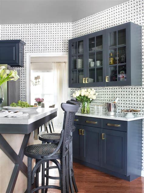 Kitchen Buffet Cabinet by Blue Storage Buffet In White Traditional Kitchen Hgtv
