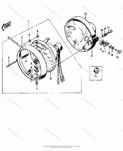 Kawasaki Motorcycle 1972 Oem Parts Diagram For Headlight