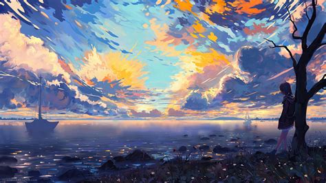 Anime Wallpaper 3840x2160 - wallpaper anime coast clouds 3840x2160