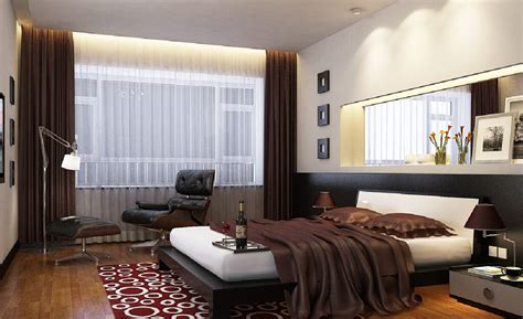 minimalist bedroom interior design with brown curtains