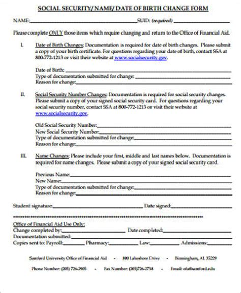 social security name change sle name change form 10 exles in word pdf