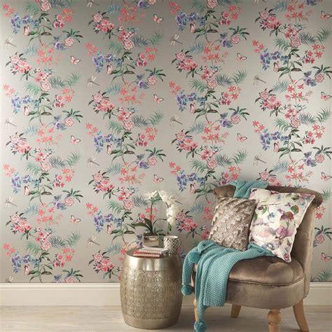 Carmen Silver Tropical Floral Wallpaper