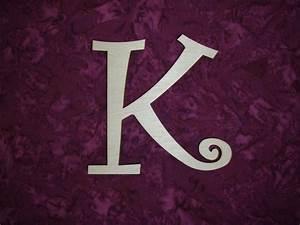 wood letter k unfinished wooden letters 6 inch tall curlz font With 4 inch unfinished wood letters