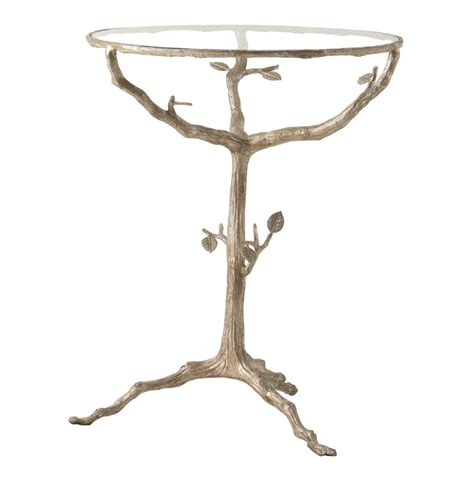 tree branch table l sherwood sculpted tree branch light gold pedestal side table
