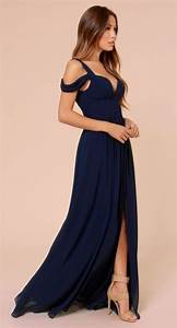 Cold Shoulder Wrap Maxi Prom Dress In Navy