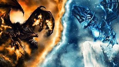 Dragon Fire Ice Wallpapers Desktop Fond Downloadwallpaper