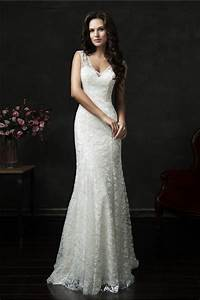 slim mermaid v neck sheer back vintage lace wedding dress With slim wedding dresses