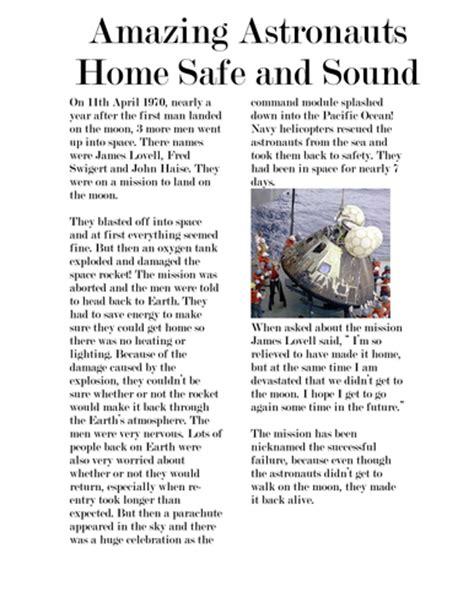 moon landing newspaper writing teaching resources