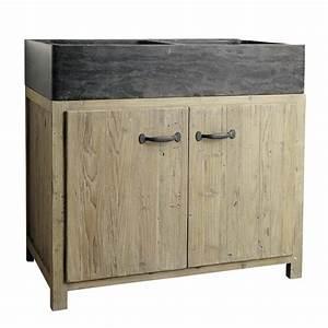 Meuble Bas Bois : meuble bas de cuisine avec vier en bois recycl l 90 cm copenhague maisons du monde ~ Teatrodelosmanantiales.com Idées de Décoration