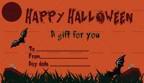 halloween gift certificate templates  word