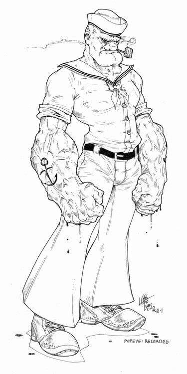 Popeye fan art | Popeye in 2019 | Cartoon drawings, Art