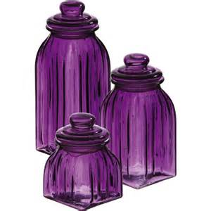 new purple glass jars 3pc canisters kitchen decor storage violet home accent - Purple Canisters For The Kitchen