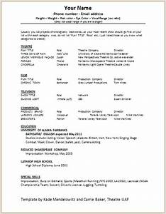 document templates acting resume format With actors cv template free