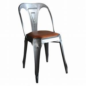 Chaise Vintage Cuir : chaise style vintage industriel en m tal et cuir demeure et jardin ~ Teatrodelosmanantiales.com Idées de Décoration