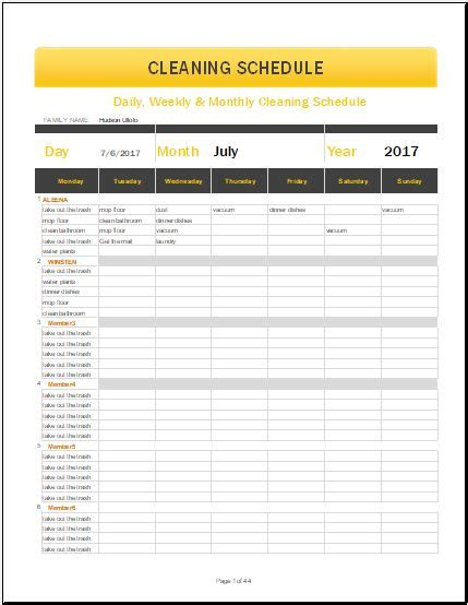Cleaning Schedule Template Daily Weekly Monthly Cleaning Schedule Template For Ms
