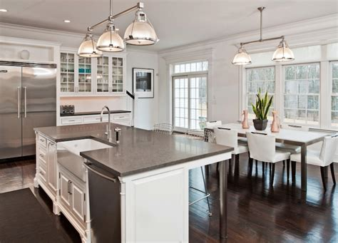 kitchen island sink gray granite countertops