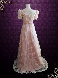 pink lace regency style ball gown wedding dress helena With regency style wedding dress