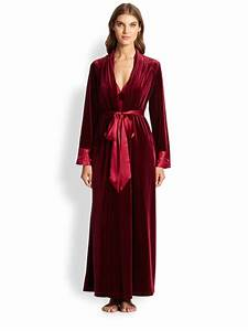lyst jonquil satin trimmed velvet long robe in red With robe fourreau satin