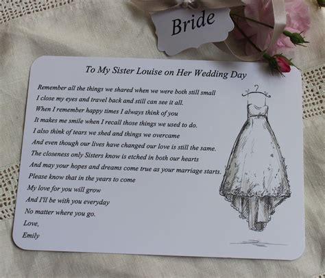 bride wedding card  sister bride   keepsake poem