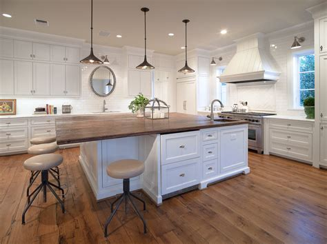 wood top kitchen island Kitchen Traditional with butcher