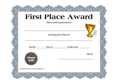1st Place Certificate Customizable Printable Certificates Place Award
