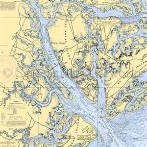Decorative Easel by South Carolina Beaufort Broad River Nautical Chart Decor