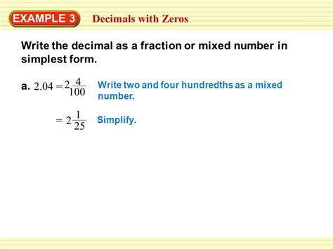 exle 1 writing decimals as fractions ppt