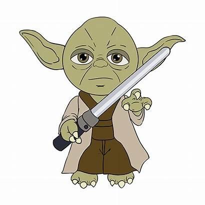 Yoda Draw Wars Star Drawing Easy Cartoon