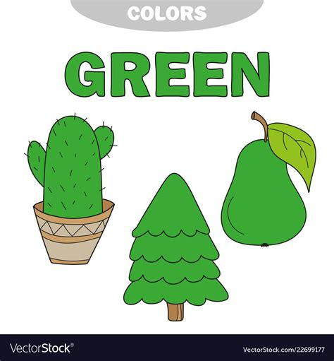 green learn  color education set vector image