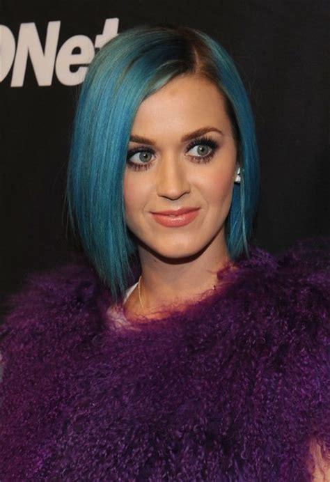 Katy Perry Hairstyle: Short Sleek Blue Bob Cut