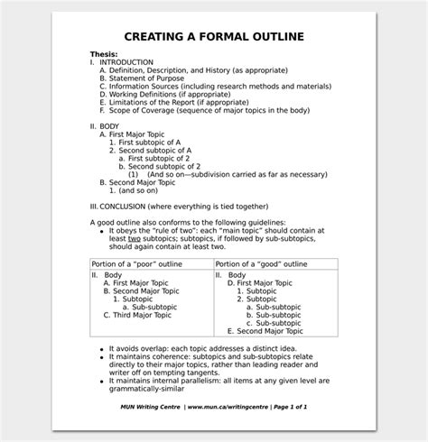 formal outline template  formats  examples dotxes
