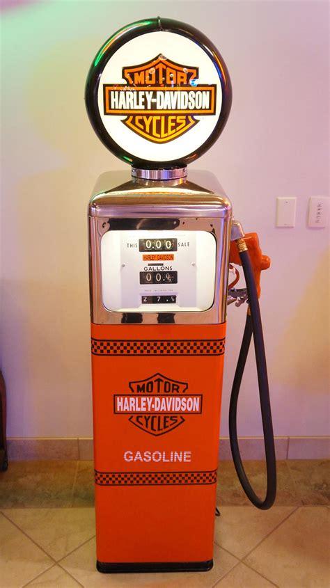 neat southwest gas pump restored  harley davidson