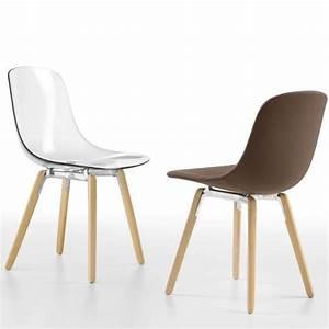 Chaise Transparente Pied Bois : chaise design en plexi pieds bois pure loop wooden infiniti 4 ~ Teatrodelosmanantiales.com Idées de Décoration